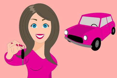 Happy woman showing key to her new pink car Vectores
