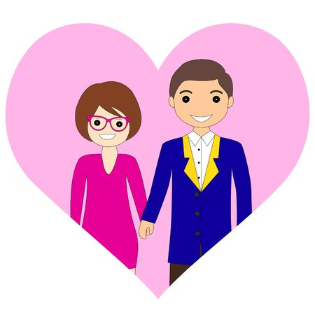 Cute couple lovers with heart. a Vector illustration design Vectores