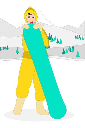 a woman with snowboard. On a mountain background