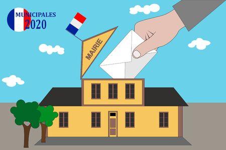 French municipal elections 2020. IllustrationText: Municipal election (in French) Vectores