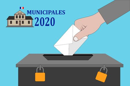 a French municipal elections 2020. Illustration Text: Municipal election (in French)