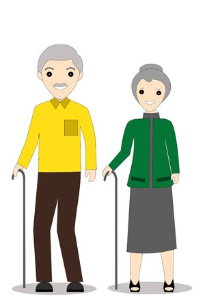 a senior couple with cane. Vector Illustration