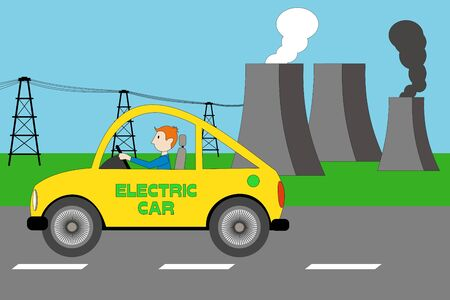 a yellow electric car, nuclear reactor, cooling towers of nuclear plant, factory with black smoke Vectores