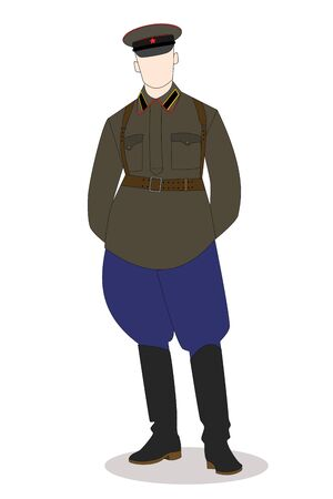 Soviet officer isolated on the white background