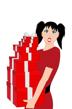 young woman with valentines day gifts on white background Vectores