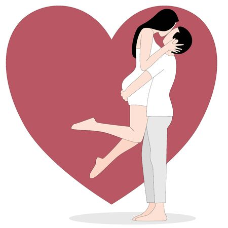 Love theme with happy couple encircling their lovers with arms. a Vector illustration