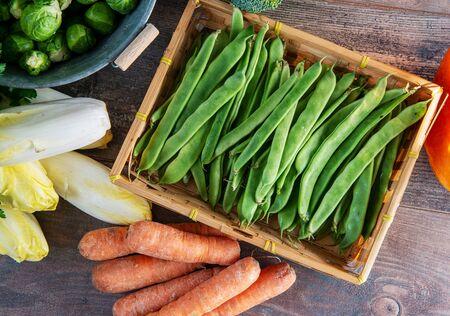 the seasonal vegetables, flat beans, sprouts, endives, carrots Banque d'images