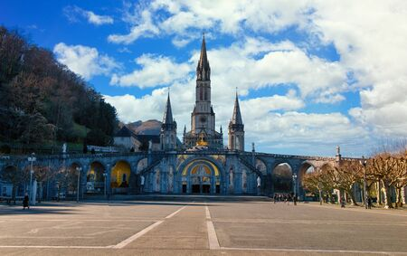 a view of the cathedral-sanctuary of Lourdes (France)