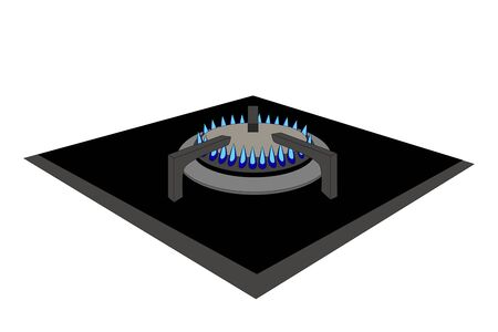 flames of gas stove, a vector illustration