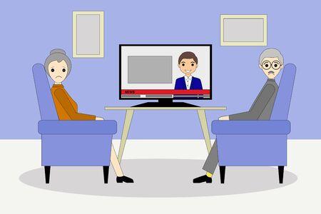 sad senior couple watching a tv during the pandemic coronavirus