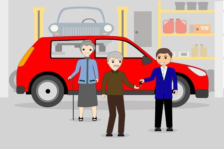 a senior couple receiving car key after buying a new car