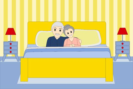 an happy senior couple in the bed Vectores