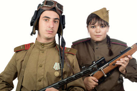Young adult man and woman in the uniform of the Soviet Army of the period of World War II Standard-Bild