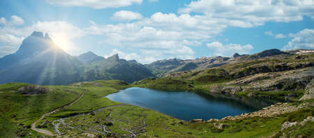 a Pic du Midi Ossau and Ayous lake in french Pyrenees mountains