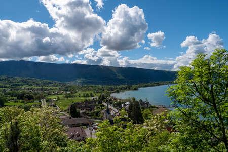 a view of Duingt village in Haute Savoie, Alps, France