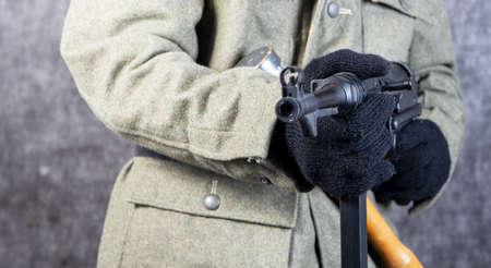 Second world war German soldier with a machine gun