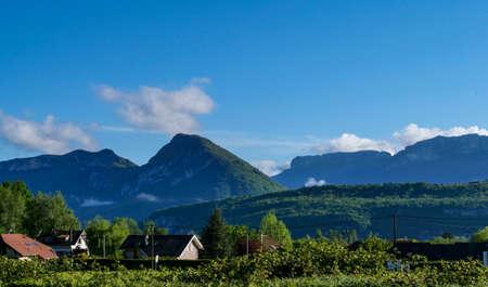 a landscape of french Alps, Haute Savoie Foto de archivo