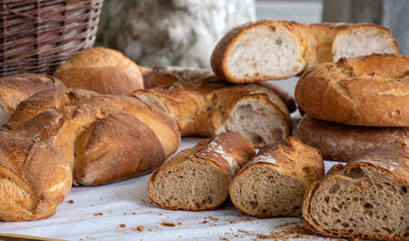 the freshly baked traditional french bread
