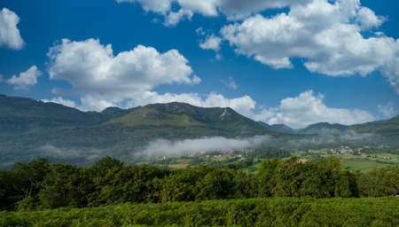 a view of the french Pyrenes mountains, near Lourdes city