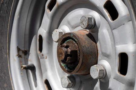 a close up wheel of old vintage car