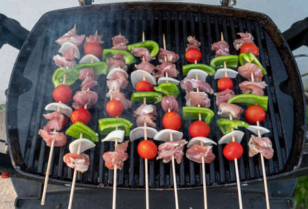 the delicious barbecue meat skewers