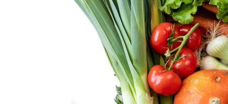 Fresh market vegetables on the white background