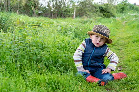 a young child three year old in nature