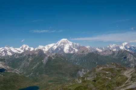 a view of Valley Col du Petit-Saint-Bernard Foto de archivo