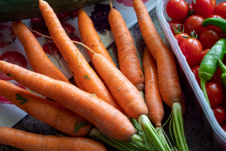 delicious organic carrots on a table