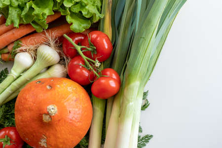 a close up of seasonal vegetables