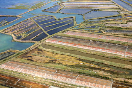 Aerial view of salt marshes on the island of Re showing the shape of a leaf