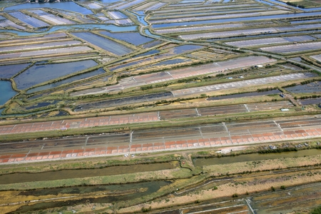 Aerial view of salt marshes on Ile de Re in France