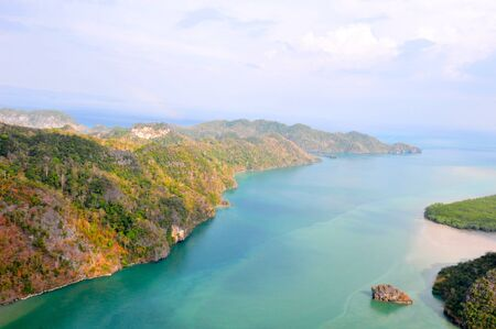 andaman: Aerial scenic view of the Andaman Sea in Langkawi