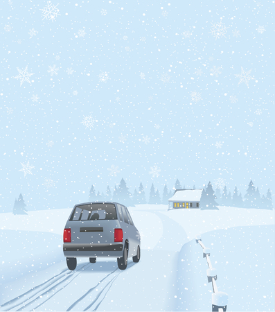 A car is driving towards a house on the wintery countryside where the family will celebrate. Illustration