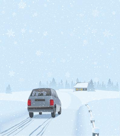 Un'auto sta guidando verso una casa nella campagna invernale dove la famiglia festeggerà. Vettoriali