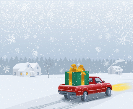 In a wintry flat landscape a car carries a big gift on its truck bed. It approaches a modern house in the countryside where the family is waiting. Ilustração