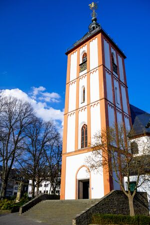 The landmark from the city of Siegen the Nikolaikirche with the Kroenchen, NRW,Germany.
