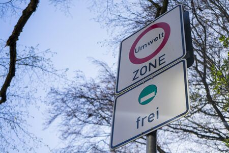 Road sign in Germany for the environmental zone in inner cities, NRW, Germany.
