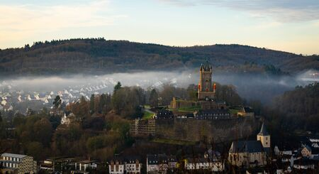 Foggy day at one of the most important monuments in northern Hesse the Wilhelmsturm near Dillenburg, Germany.