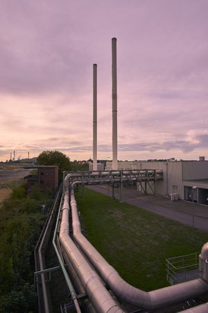 a factory with pipelines Stock Photo