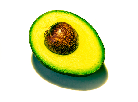 Sliced avocado on white background