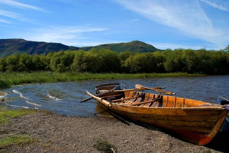 Rowing boat on Derwent Water in the English Lake District photo