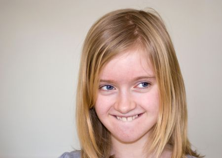 11 year old blond girl smiling, showing teeth Stock Photo - 2632848