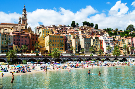 sun bathers: Menton, France Stock Photo