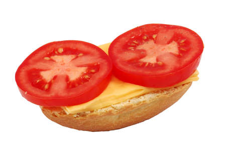 bap: Bread Roll with Tomato and Cheese isolated over white background