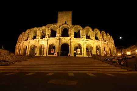 arles: Roman Arena in Arles, France, illuminated at night