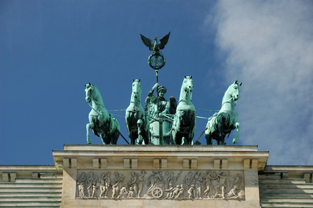 quadriga: Quadriga on Top of Brandenburger Gate in Berlin, Germany