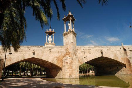 citypark: Bridge over the old channel of Turia river in Valencia.