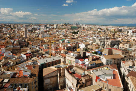 valencia: Over the roofs of Valencia, Spain. View from on top of the Cathedral in Valencia, Spain.