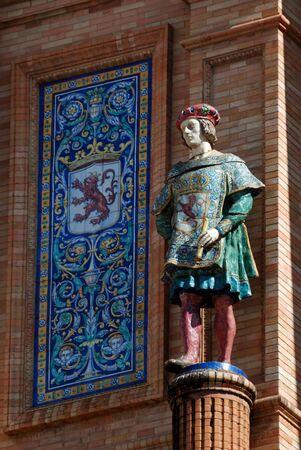 discoverer: Columbus statue in Seville, Spain Stock Photo